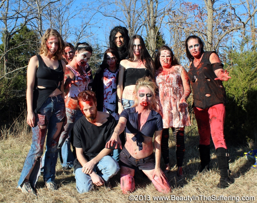 BEAUTY IN THE SUFFERING: DieTrich Thrall (rear center) and friends wrap filming on their zombie short film on 11.27.13.